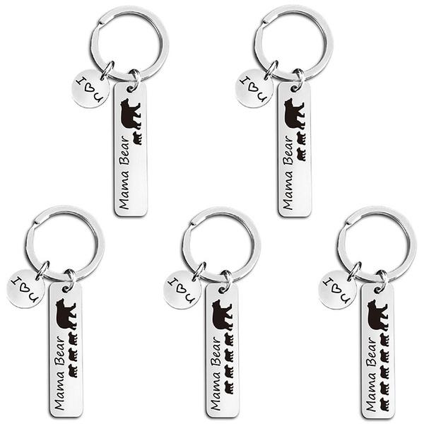 Key Chain, Jewelry, mamabear, stainlesssteelkeychain