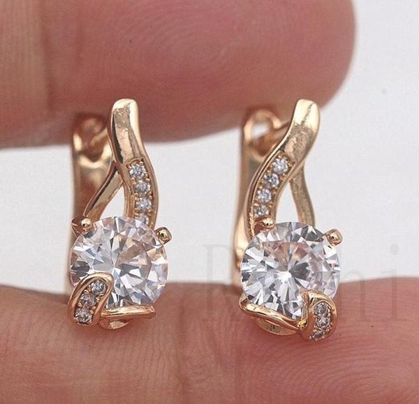 yellow gold, 18k gold, Gemstone Earrings, gold