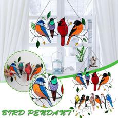 birdsuncatcher, Glass, stained, Ornament