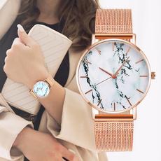 Fashion, gold, Watch, creativemarbleladieswatch