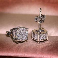 Sterling, DIAMOND, Princess, Stud Earring