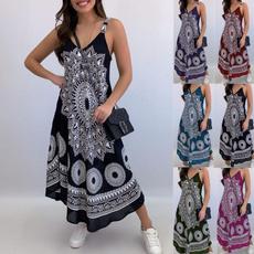 Summer, printeddres, Beach, Dress