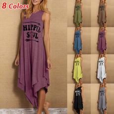 sleeveless, asymmetrical dress, Fashion, letter print