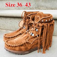 ankle boots, casualshoeswomen, Tassels, Fashion