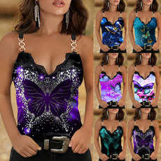 butterflyprint, Summer, sleeveless, Fashion