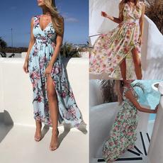 Deep V-Neck, Summer, Fashion, sundress