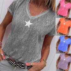 vnecktshirt, Summer, Short Sleeve T-Shirt, Star