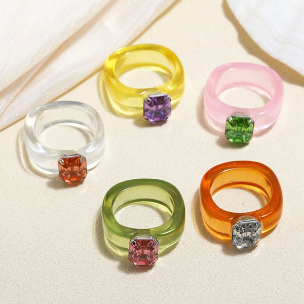 crystal ring, Jewelry, Colorful, Simple