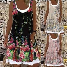 Summer, Plus Size, Necks, Dresses