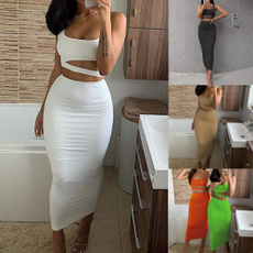 long skirt, Fashion, sleevelessoutfit, Hollow-out