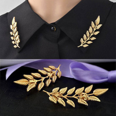 golden, brooches, leaf, Gifts