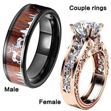 Steel, DIAMOND, wedding ring, gold