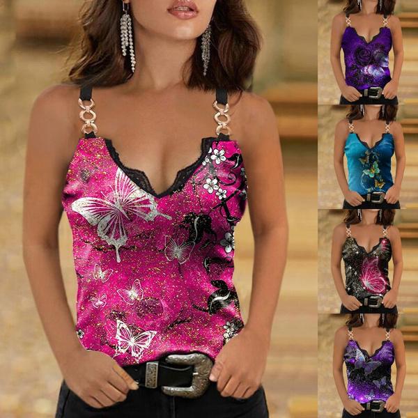 butterfly, Tanktops for women, Plus Size, Lace