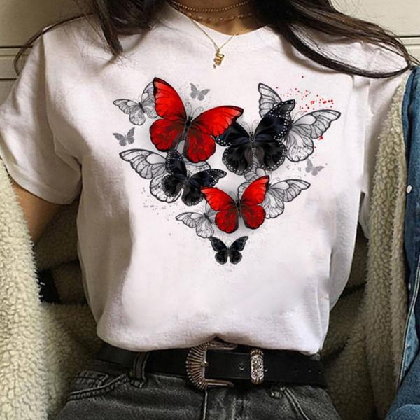 butterfly, Summer, white shirt, short sleeves