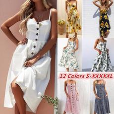 Summer, vestidoscasuale, Plus Size, long dress