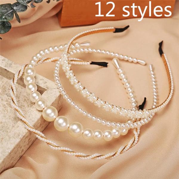 pearlhairband, girlshairhoop, Fashion, Elegant