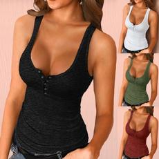 Women Vest, Slim Fit, Tank, button