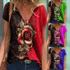Deep V-Neck, Summer, Plus size top, Cotton Shirt