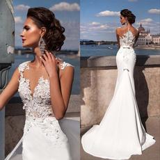 sleeveless, Sexy Wedding Dress, Moda, Encaje