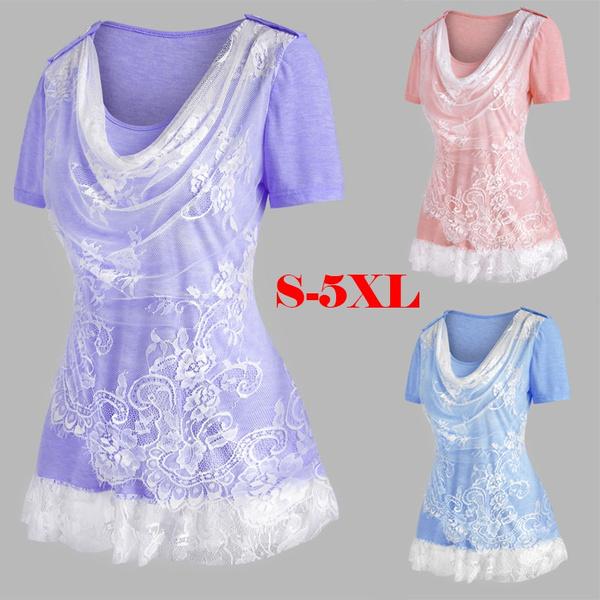 pleatedtshirt, blouse, Plus Size, womensshortsleeve