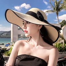 Summer, Fashion, Beach hat, bowknotstrawhat