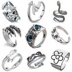 Sterling, adjustablering, animalring, 925 silver rings