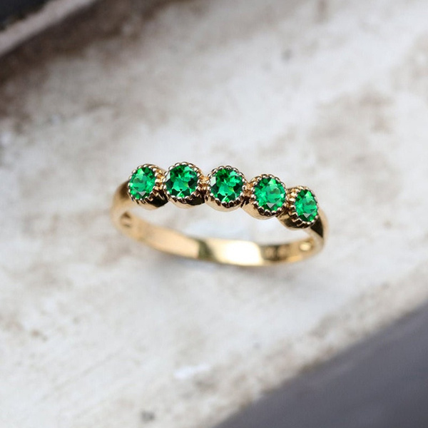 stackablering, emeraldring, gold, Romantic
