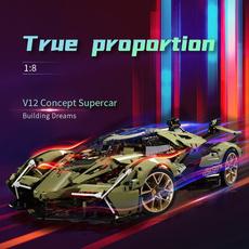 Toy, technologyblockcar, modelbuildingblockcar, v12supercartoy