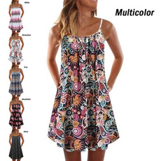 Summer, Plus Size, Floral print, Sleeveless dress