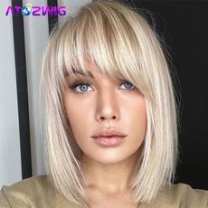 bobwigwithbang, wig, Women's Fashion & Accessories, fashion wig