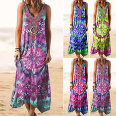 Summer, long skirt, Plus Size, vest dress