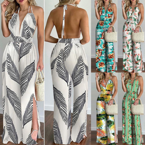 Summer, Fashion, Halter, backlessoverall