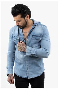 hooded, Shirt, 2103451, Denim