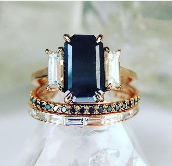 Engagement Wedding Ring Set, gold, Elegant, Women's Fashion
