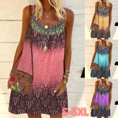 bohemia, Summer, Spaghetti Strap, neck dress