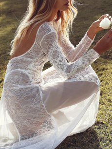 gowns, Lace, Long Sleeve, Dress