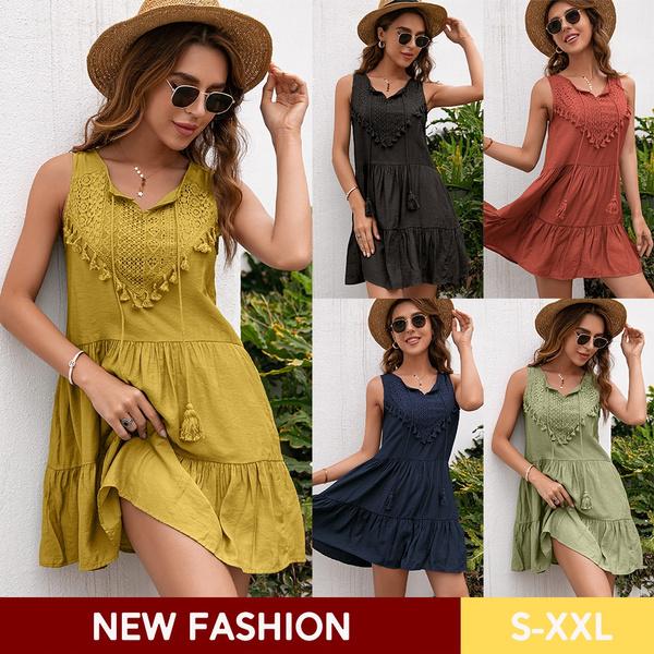 Summer, Mini, Dress, Tops