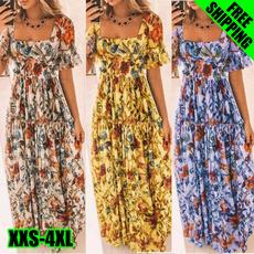Summer, short sleeve dress, long dress, fashion dress