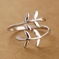Sterling, adjustablering, leaf, branch