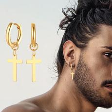 charmearring, crossearring, Hoop Earring, Men Earrings