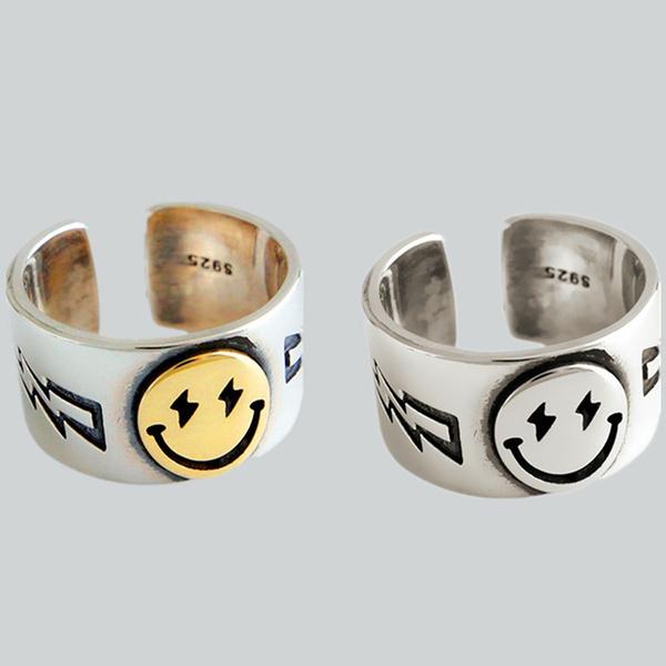 Sterling, adjustablering, gold, 925 silver rings