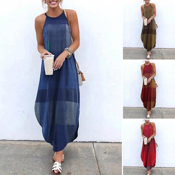 sleeveless, dressesforwomen, Tank, Plaid Dress