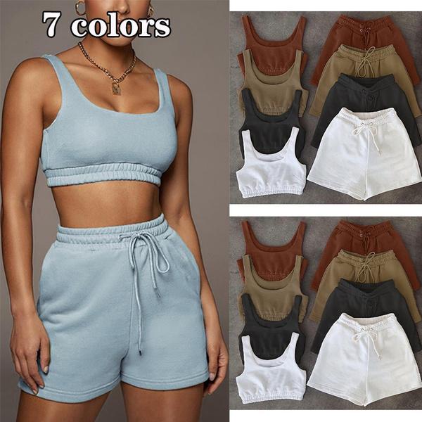 Summer, drawstringpantsforwomen, crop top, shortssetswomen2pieceoutfit