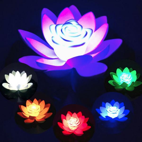 water, Flowers, wishinglampfloating, artificialflowerdecoration