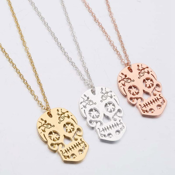 cute, skullnecklace, punk necklace, Skeleton