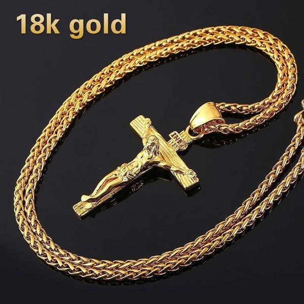 jesus, Cross necklace, 18kalloy, Vintage