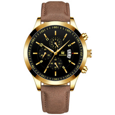 Men, business watch, leather strap, leather
