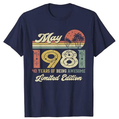 anniversarygiftforparentsturning40, noveltytshirt, borninmay1981shirt, 40thbirthdaygift