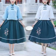 blouse, Set, Chinese, Sleeve