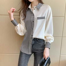 patchworktop, Fashion, Office, Long Sleeve